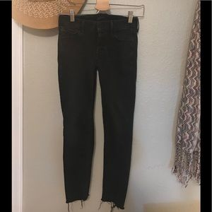 MOTHER Jeans - MOTHER Looker ankle-gray skinny jeans in blackbird